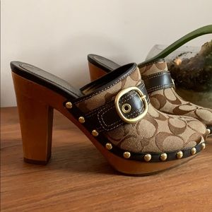 Coach Brown Wood Willow Slides/Clogs Size 6.5